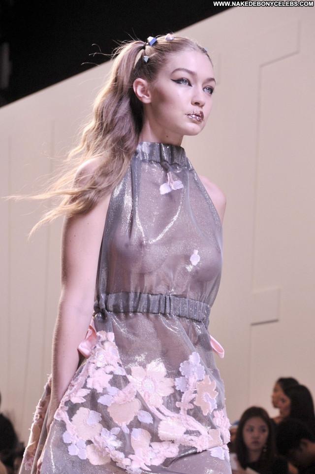 Gigi Hadid Fashion Show Posing Hot Braless Fashion Beautiful