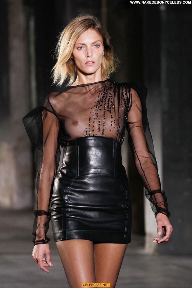 Anja Rubik No Source Celebrity Leather See Through Posing Hot
