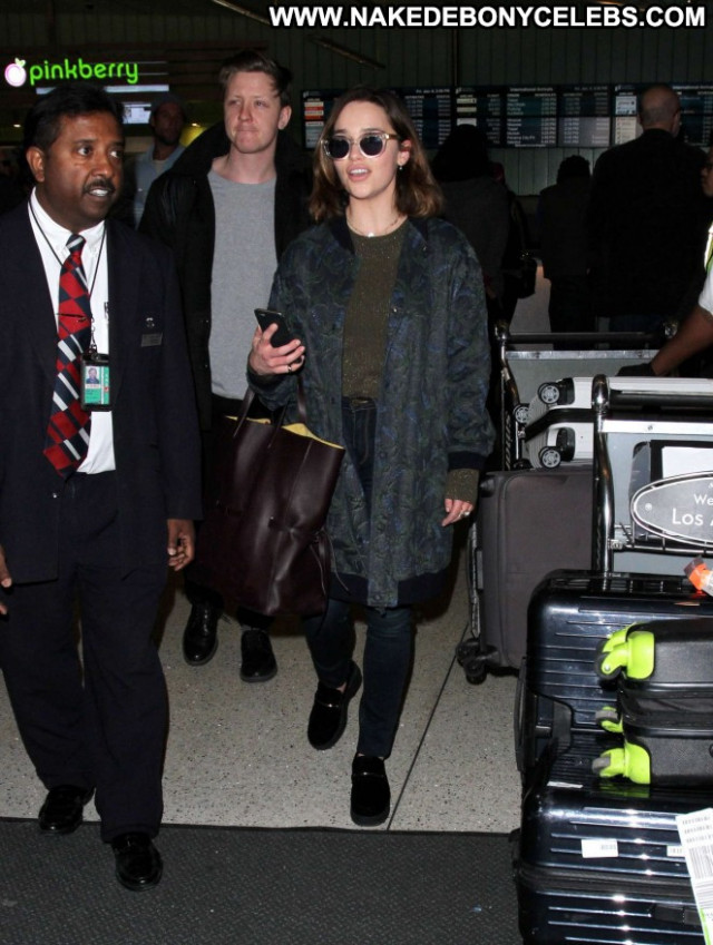 Emilia Clarke Lax Airport Babe Beautiful Paparazzi Posing Hot Lax