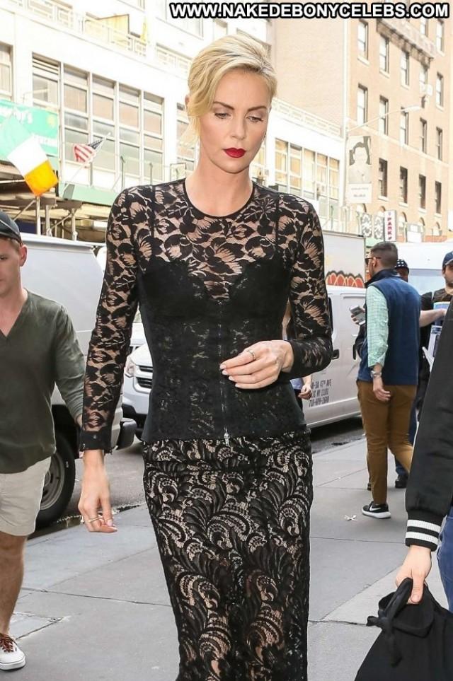Charlize Thero New York  Celebrity Black Hot Posing Hot Babe Hotel